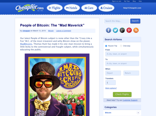 People of Bitcoin  The Mad Maverick   CheapAir