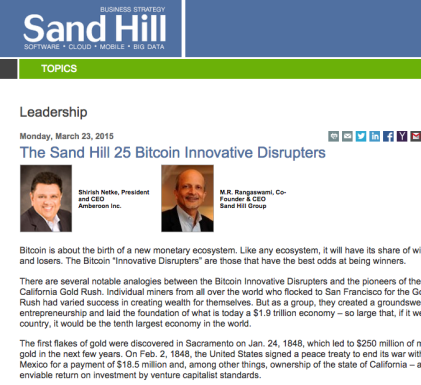 The Sand Hill 25 Bitcoin Innovative Disrupters   Sandhill