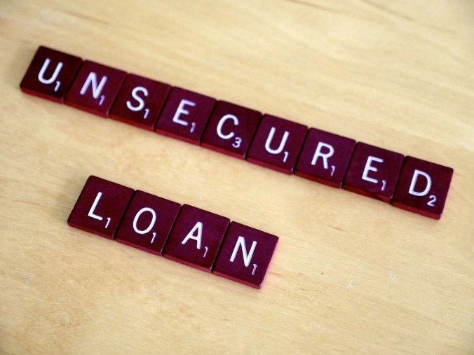scramble letters image showing the word unsecured loans